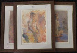 Three nude studies, limited edition prints,