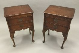 A pair of 20th century Queen Anne style bedside drawers.