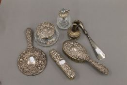 A silver mounted dressing table set and a Ronson plated table lighter