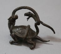 A Japanese bronze dragon and snake