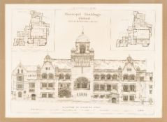Seventeen architectural plates from The Building News 1890-1899 and The Builder 1898 Framed and