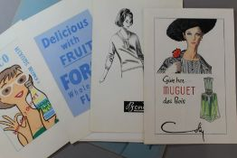 A quantity of advertising proofs, including Pringle, Mary Quant toiletries, etc.