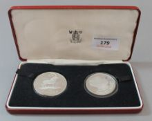 A boxed Malawi proof two coin set