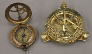 Two sundial type compasses