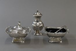 A large silver three piece cruet set (13 troy ounces of silver)