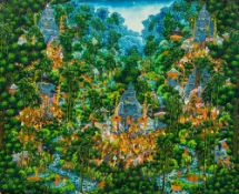 BALINESE UBUD SCHOOL (20th century), Extensive Landscape With Figures, acrylic on canvas,