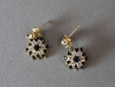 A pair of 9 ct gold sapphire earrings
