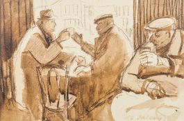 LES JACOBS (20th century) British, The Cafe, watercolour, signed, framed and glazed. 36 x 24 cm.