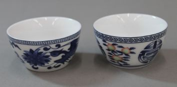 Two blue and white porcelain tea bowls