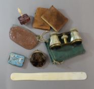 A quantity of miscellaneous items, including a stained bone spinning top, opera glasses, etc.
