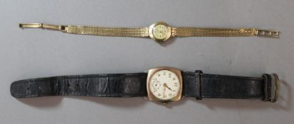A ladies 9 ct gold wristwatch and a 9 ct gold wristwatch on leather strap (the former 14.