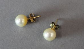 A pair of 9 ct gold pearl earrings