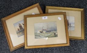 F S OLDFIELD (20th century) British, Shipping watercolour, together with six Shipping prints,