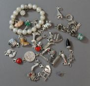 A quantity of silver charms and bracelet by Thomas Sabo, etc.