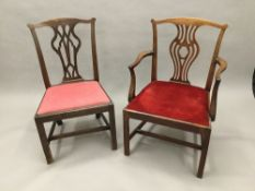 A 19th century mahogany carver chair and another single chair