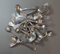 A quantity of silver flatware, predominately Victorian and Georgian, various hallmarks,
