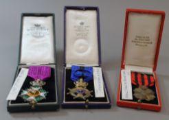Belgian medals, to include Ordre de Leopold 1910, Chevalier de L'Ordre de Leopold II 1919,
