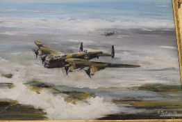 Oil on canvas, Lancaster Bomber and Spitfire, signed P Jackson and dated '89,