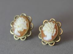 A pair of 9 ct gold cameo earrings