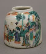 A small Chinese porcelain brush pot