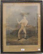A 19th century print of the boxer Bendigo Wm Thompson Champion of England,