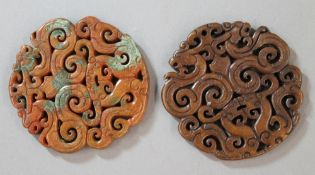 Two agate roundels