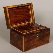 A George III line inlaid mahogany tea caddy, hallmarks indistinct, maker's mark of IT ,