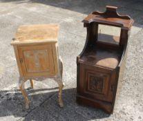 A Victorian walnut cupboard and a pine pot cupboard