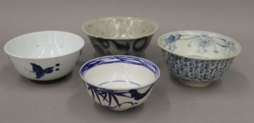 Two Chinese Ming provincial blue and white bowls and two others