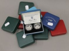 Nine Royal Mint United Kingdom silver proof two pound coins, comprising 1986, 1994-1999,