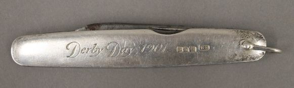 A silver cased folding pocketknife,