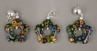A silver and millefiori pendant and earring en-suite