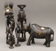 Five African carvings