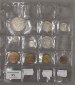 An uncirculated set of 1937 silver and copper coinage, ten piece - crown to farthing,