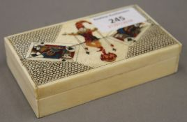 A carved bone card box,