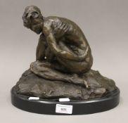 An abstract bronze sculpture