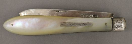 A Victorian mother-of-pearl handled silver bladed folding fruit knife