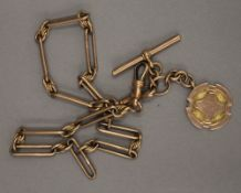 A 9 ct gold watch chain with fob (45 grammes)