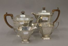 A George V silver four piece tea set,