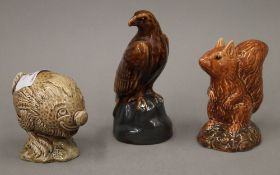 Three Beswick Beneagles Scotch Whisky ceramic animalia decanters,