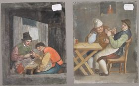 After ADRIAEN VAN OSTADE, (18th/19th century) Dutch, Interior Tavern Scenes, oils on tin, a pair,