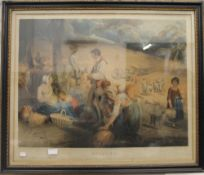 After GEORGE MORLAND, A Storm in Harvest and Reapers, mezzotints,