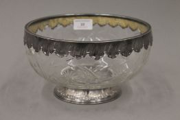 A Continental cut glass bowl with silver mounts