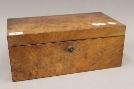 A Georgian mahogany jewellery box with Bramah lock and key