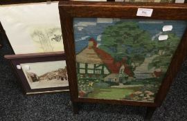 A tapestry fire screen and three prints