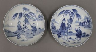 A pair of 18th century Chinese blue and white dishes,