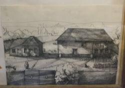 GARY BARRETT (?) (20th century) British, Farmstead, embellished print, signed, framed and glazed,