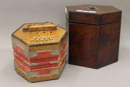 A Viceroy concertina in a mahogany case