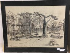 ENGLISH SCHOOL (20th century), An Afternoon at the Festival Villa Garden, ink and pencil,
