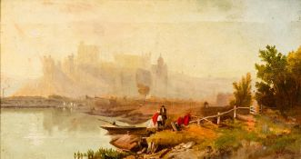 ROBERTS (19th century), Figures Alighting Before a Castle, oil on canvas, signed, inscribed Cobh,